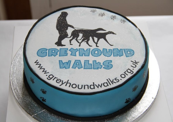 Photo of the Greyhound Walks 10th Birthday cake.