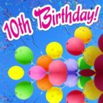 Picture of 10th Birthday balloons.