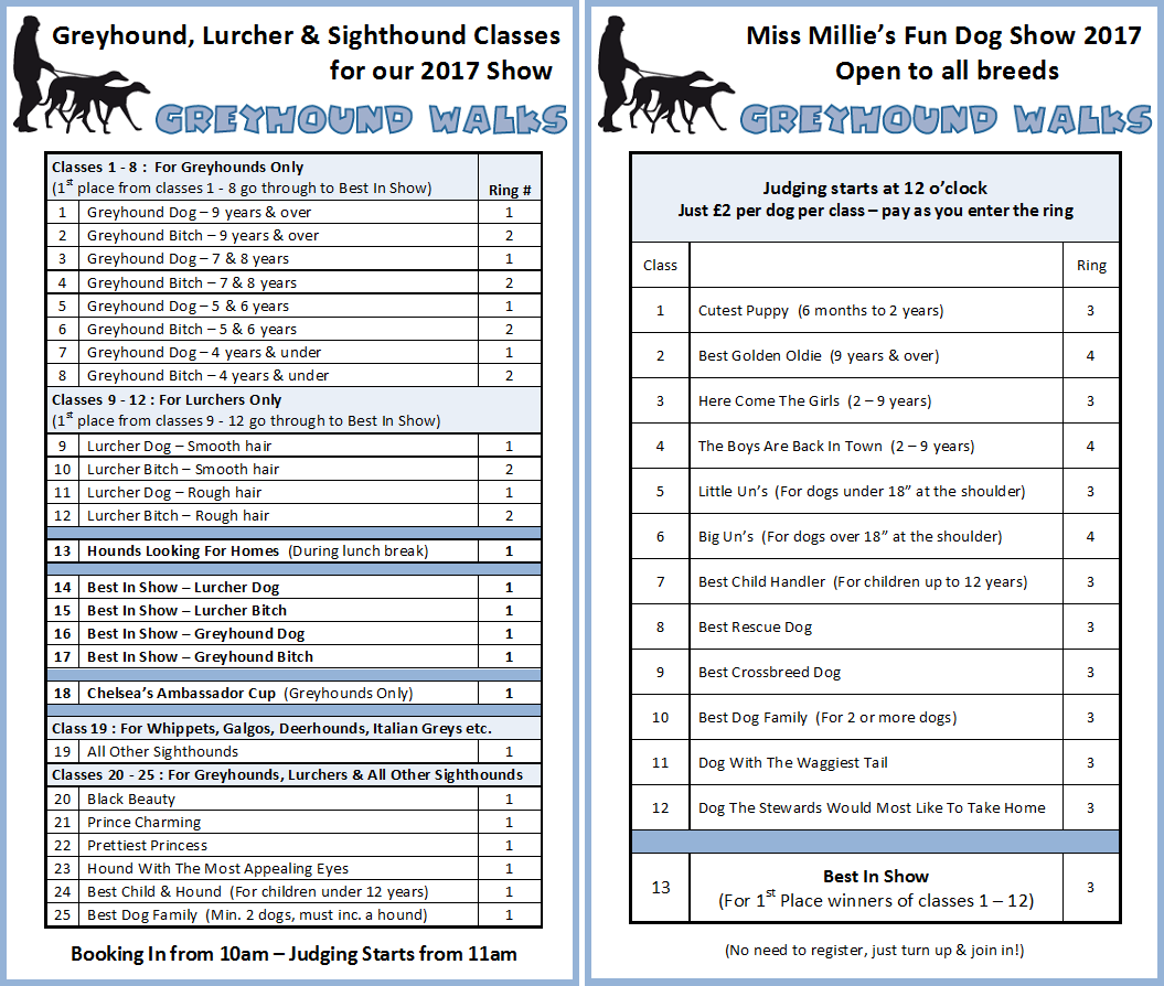 Greyhound Walks show class schedule