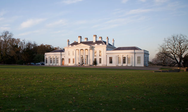 Photo of Hylands House in the winter.