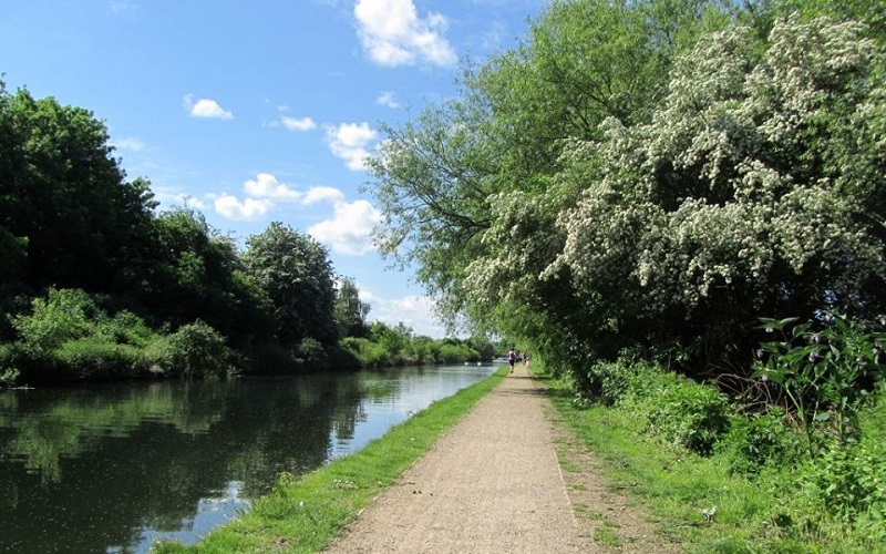 Photo of the canal path at Lee Valley Park.