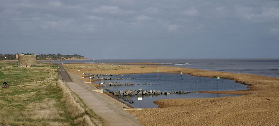 Photo of part of the beach at Old Felixstowe.