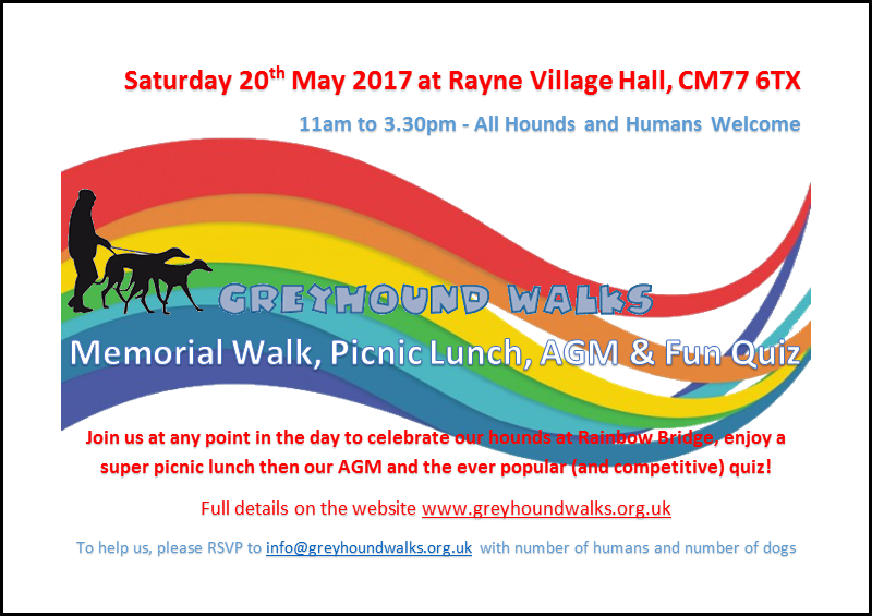 Poster advertising our 2017 Rainbow Bridge Walk, AGM & Quiz.