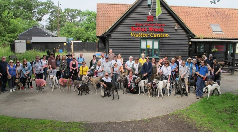70 huonds & their humans in front of the visitor centre at Belhus Country Park in Essex.