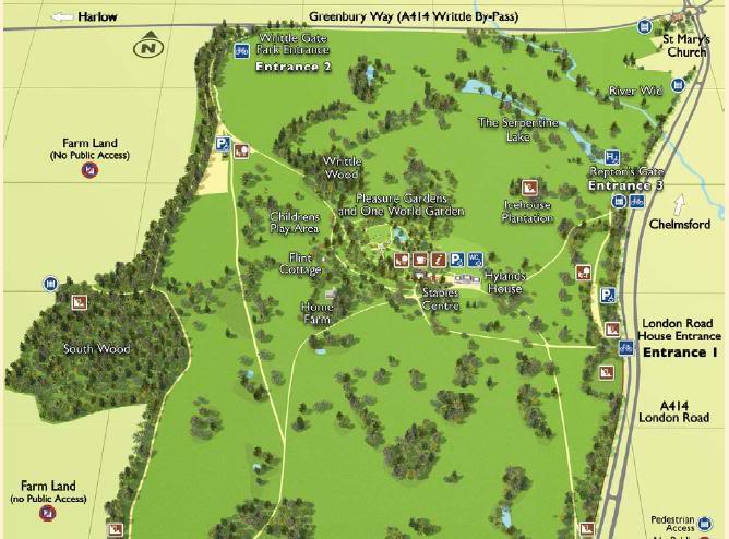 Hylands Park Map for Greyhound Walk